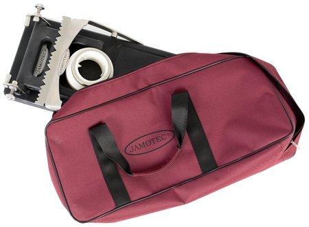Il supporto del prosciutto, piegato nella sua borsa da trasporto
