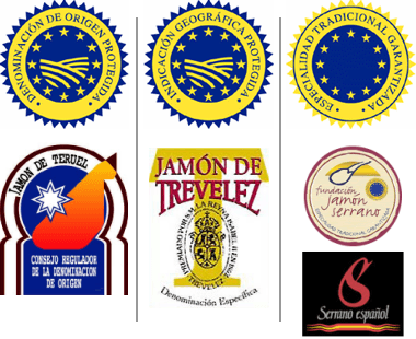 Etichette e sigilli dei vari tipi di jamon serrano