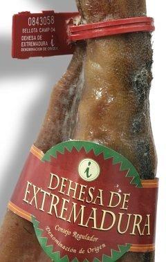 Etichetta (plastica) e fascetta (carta) che accreditano la qualità Jamón Bellota, nella Denominazione d'Origine Dehesa de Extremadura
